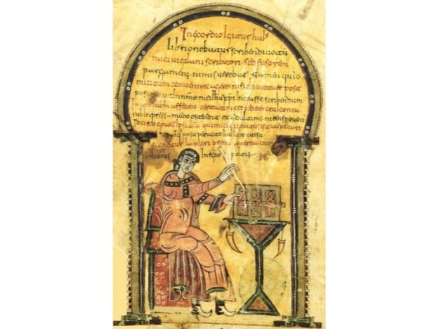 Escriba Codice Vigiliano o Abeldense. Biblioteca del Escorial